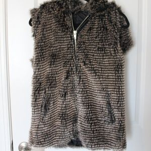 Forever 21 Faux Fur Vest (with hood & zipper)